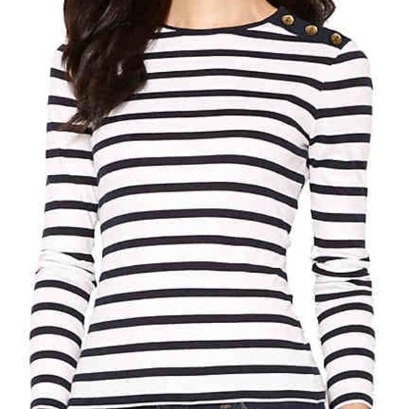 ec238031 Lauren Ralph Lauren Tops | Buttonshoulder Striped Top | Poshmark